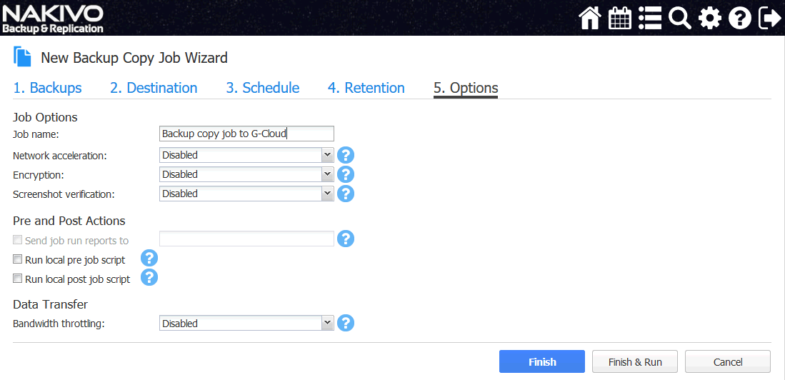 Configuring job options for VM backup to Google cloud by using the backup copy method