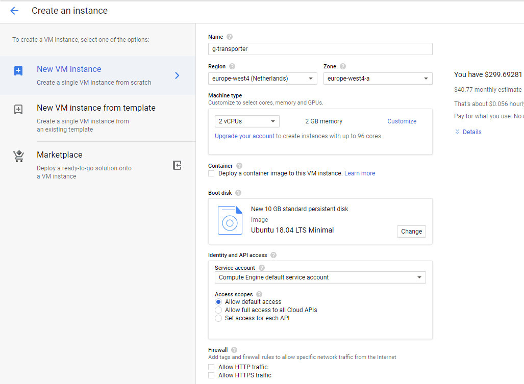 Create an instance – customize your new Google Cloud instance for backup to Google Cloud Storage.