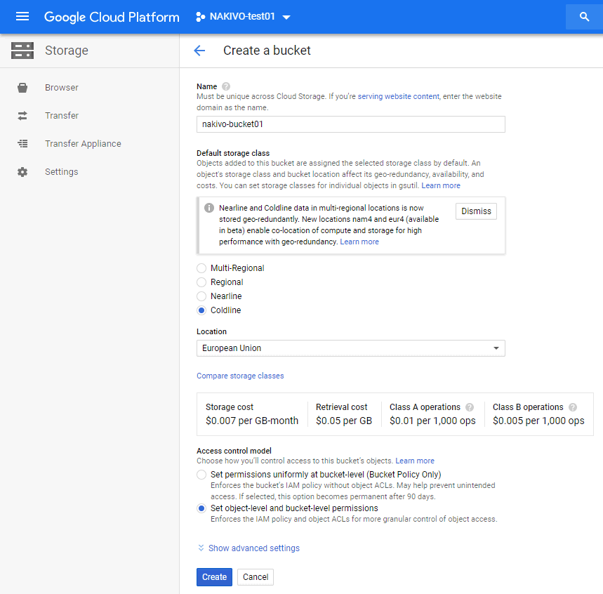 Creating a new Google bucket that will be used for backup to Google cloud with NAKIVO Backup & Replication.