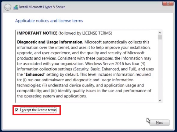 License Agreement in Free Hyper-V Server 2016