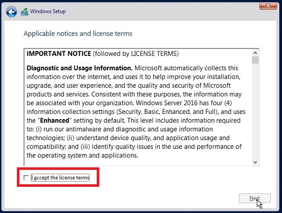 License Agreement in Windows Server 2016