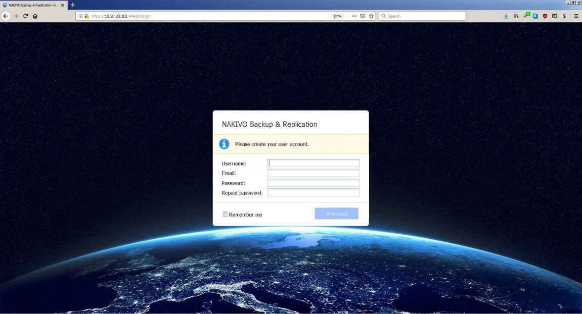 NAKIVO Backup & Replication Login Screen
