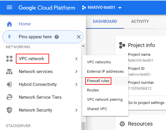 Opening firewall rules in the web interface of Google Cloud Platform