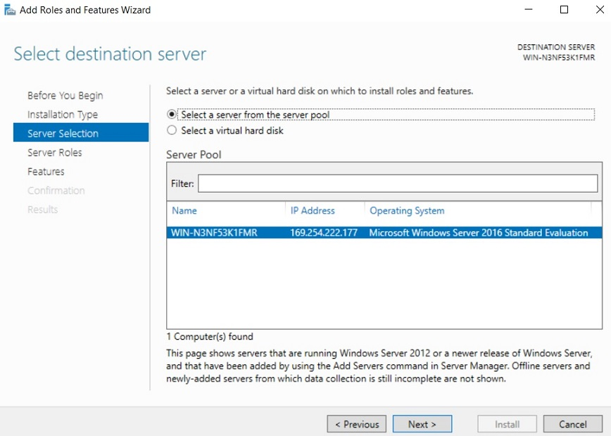 Select destination server (Server Core Installation vs GUI)