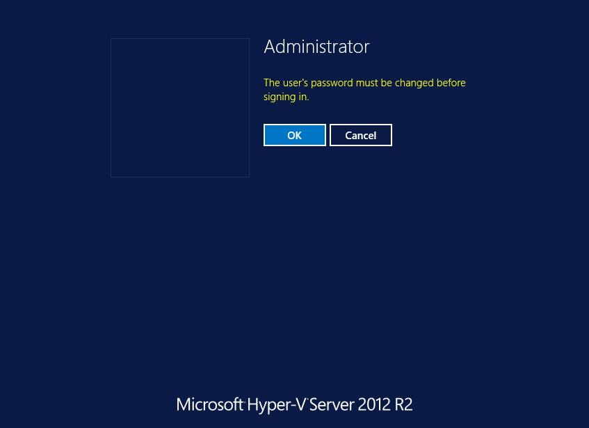 The User's Password in Hyper-V Core Installation