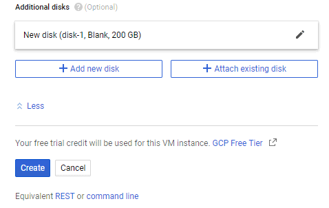 The final stage of creating a virtual disk to be used as a repository for backup to Google Cloud storage.