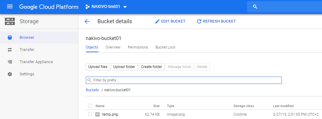 Uploading a file to the Google bucket that will be attached to the Google Cloud instance.