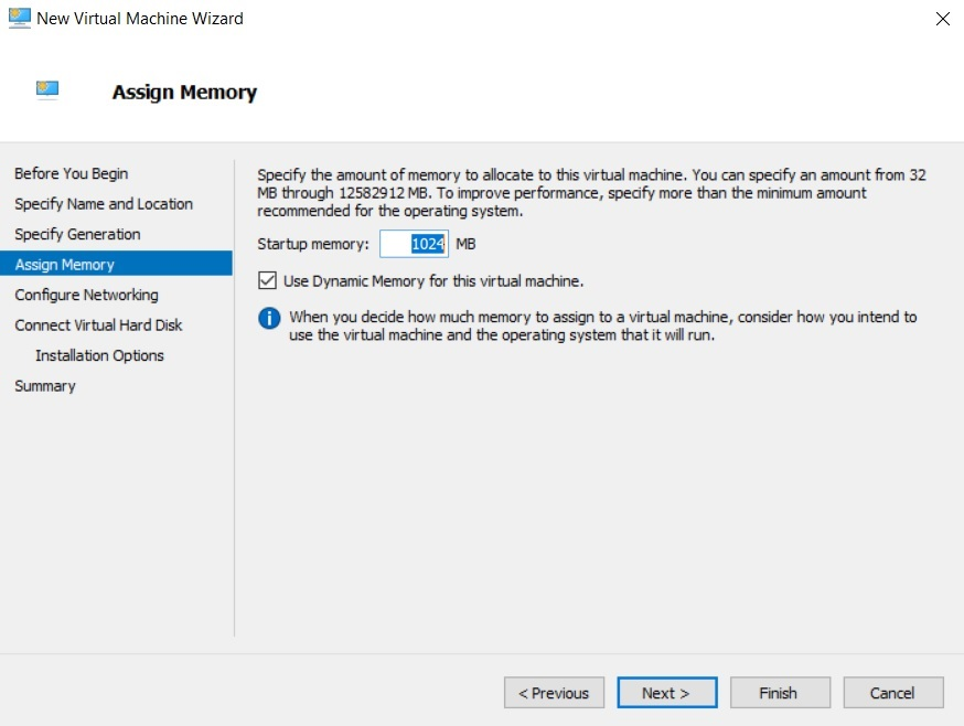 Assign Memory (Hyper-V Differencing Disks)