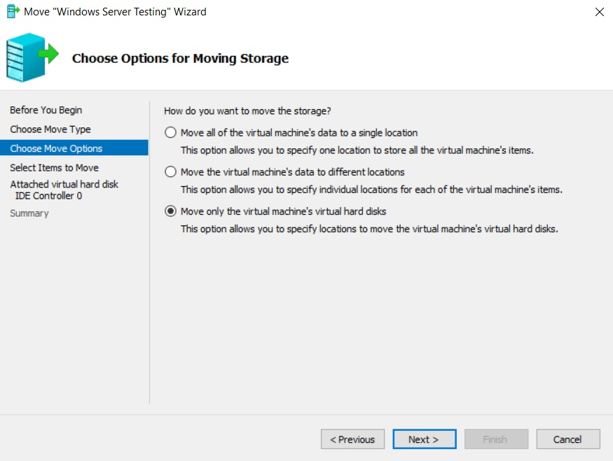 Choose Move Options (Hyper-V Storage Migration)