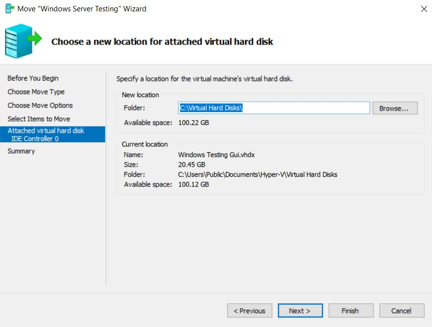 Choose a new location for VHD(X) (Hyper-V Storage Migration)