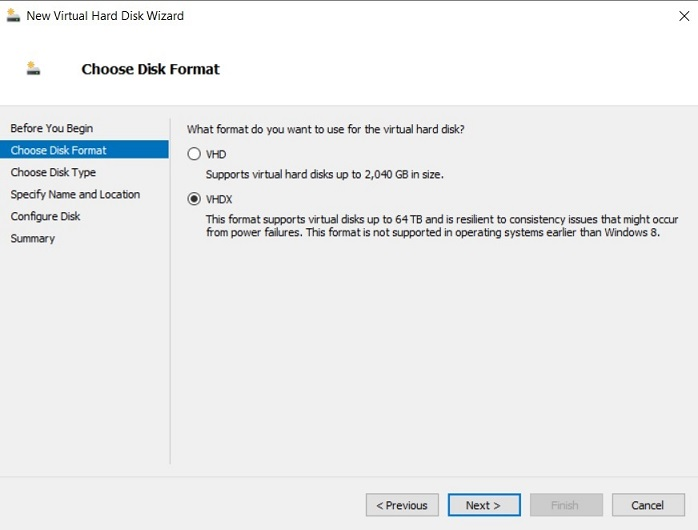 Choosing Disk Format (Hyper-V Differencing Disks)