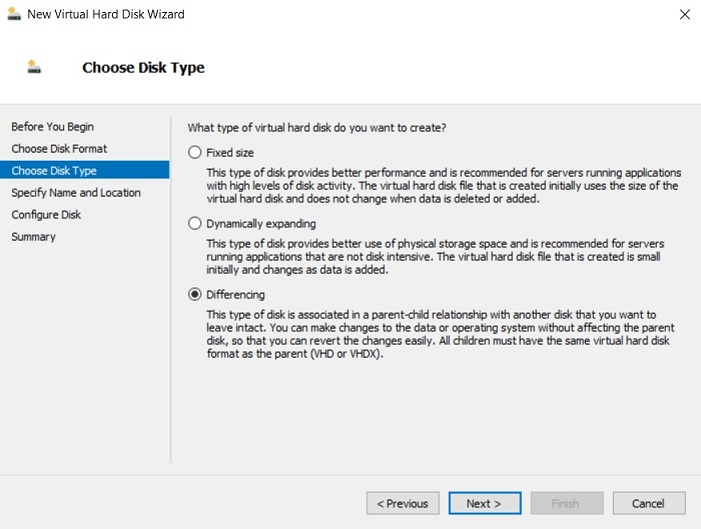 Choosing Disk Type (Hyper-V Differencing Disks)
