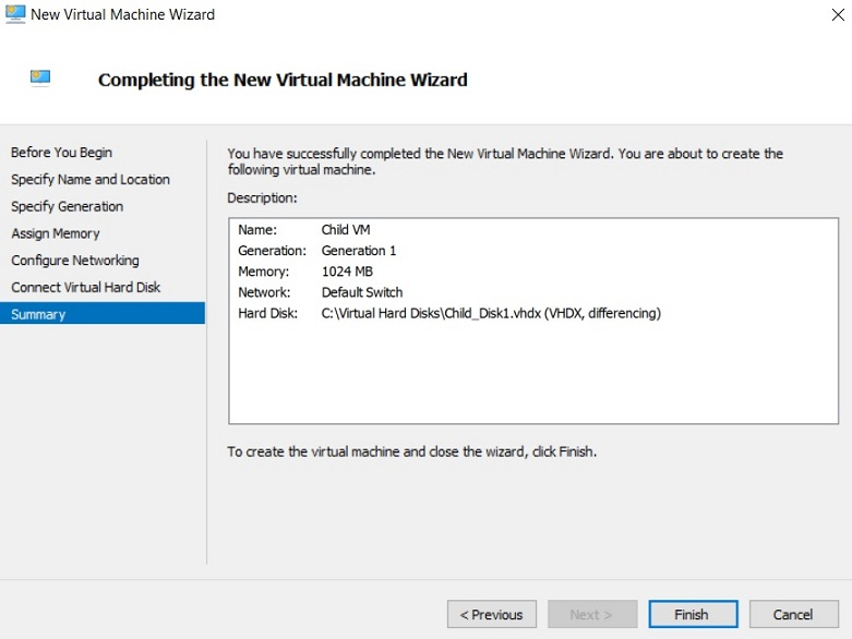 Completing the New VM Wizard (Hyper-V Differencing Disks)