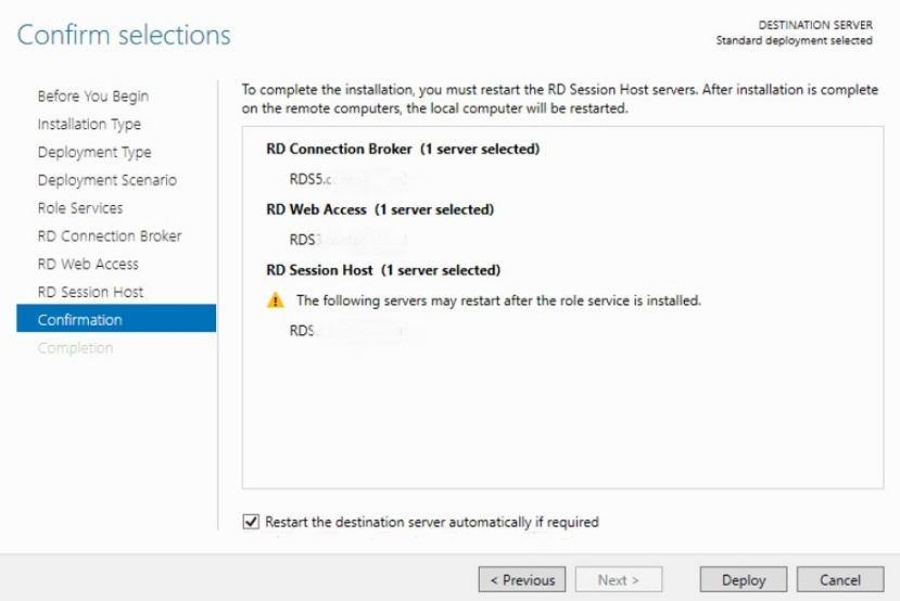 Confirming Selections in Hyper-V VDI deployment