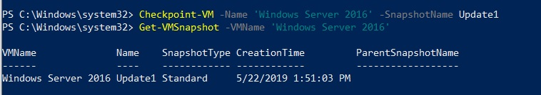 Creating VM snapshots (Hyper-V PowerShell Commands)