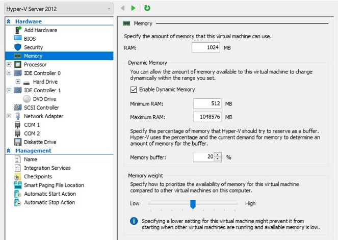 Enable Hyper-V Dynamic Memory (how to improve VM performance)