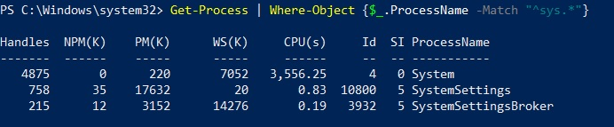 Filtering the processes (Hyper-V PowerShell Commands)