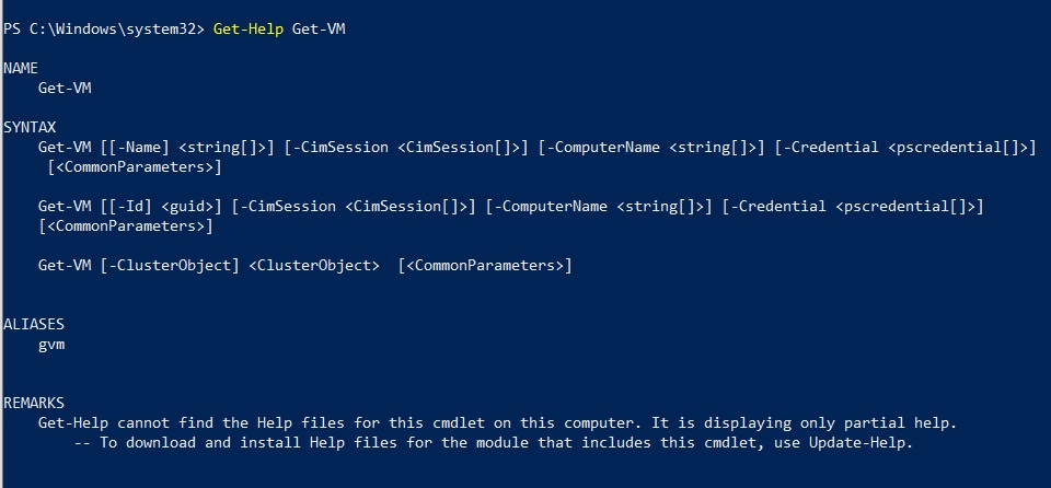 Get-Help Get-VM (Hyper-V PowerShell Commands)