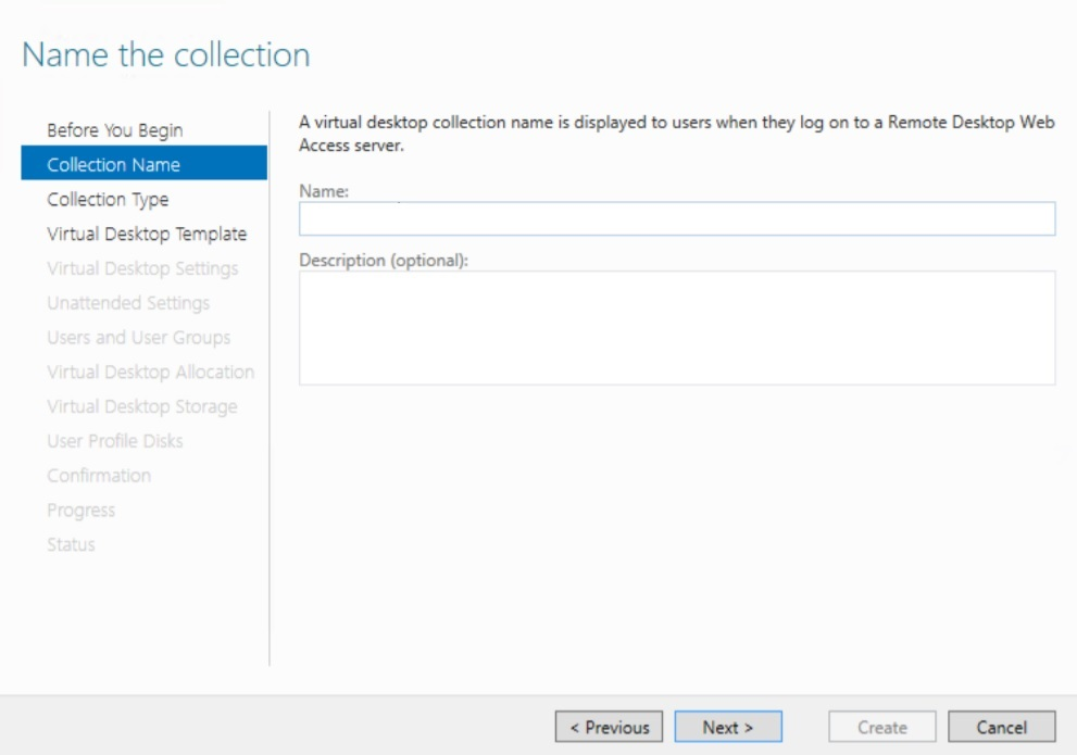 Naming the Collection in Hyper-V VDI deployment