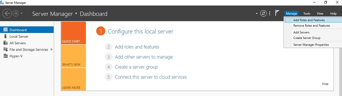 Opening Server Manager in Hyper-V VDI deployment