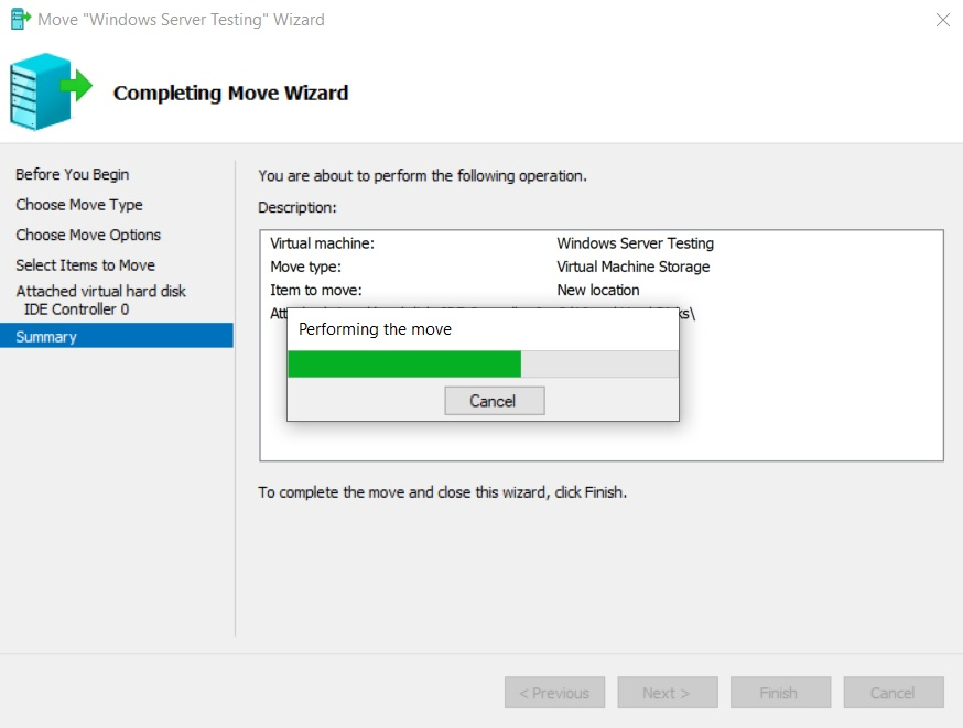 Performing the Move (Hyper-V Storage Migration)