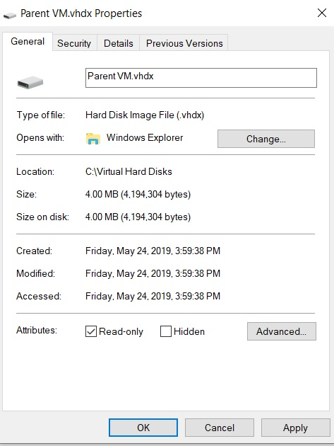 Read-only Parent Disk (Hyper-V Differencing Disks)