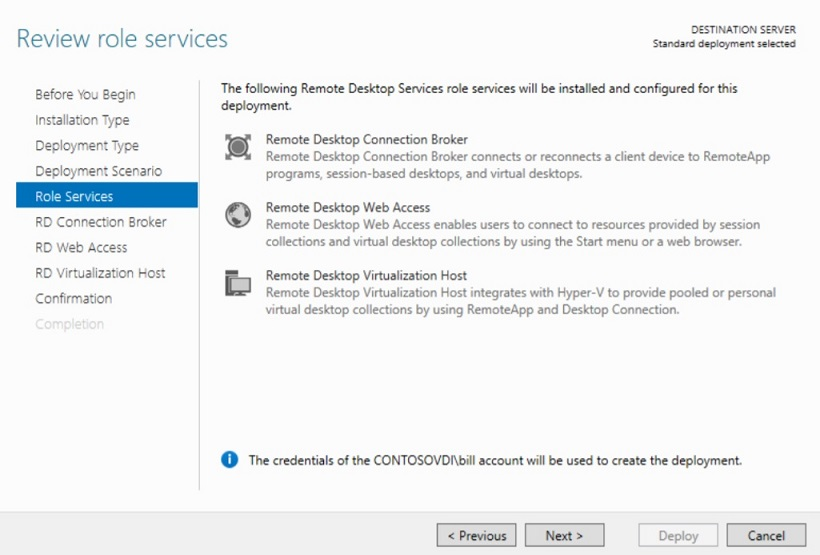 Reviewing Role Services in Hyper-V VDI deployment