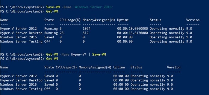 Saving VMs (Hyper-V PowerShell Commands)