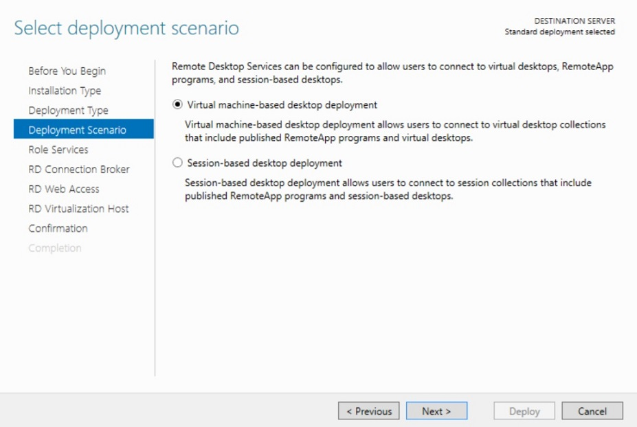 Selecting Deployment Scenario in Hyper-V VDI deployment