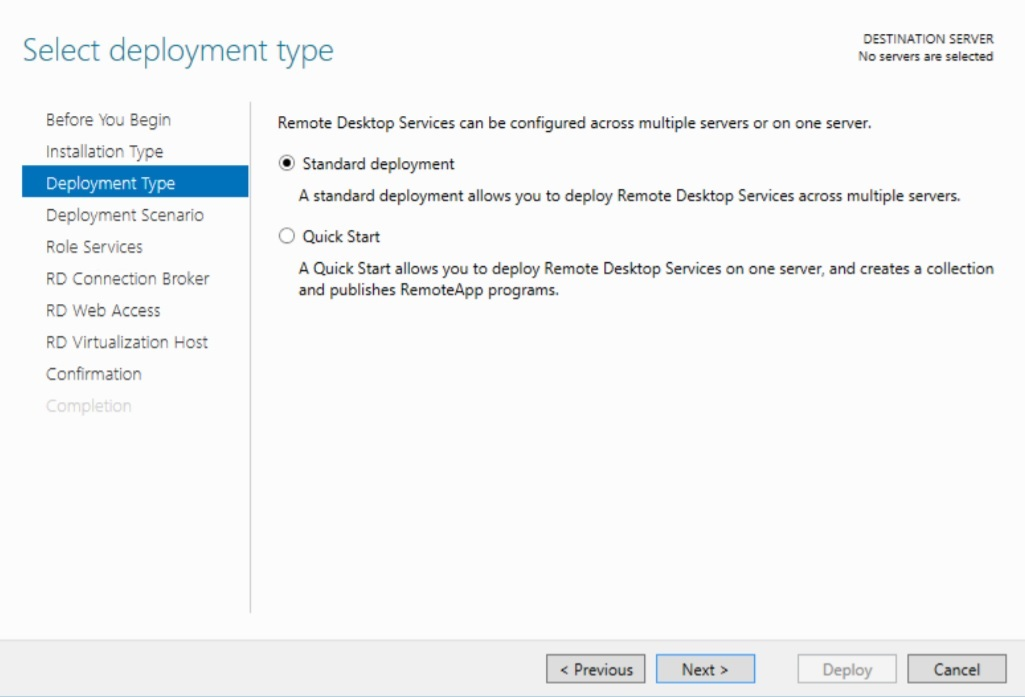 Selecting Deployment Type in Hyper-V VDI deployment