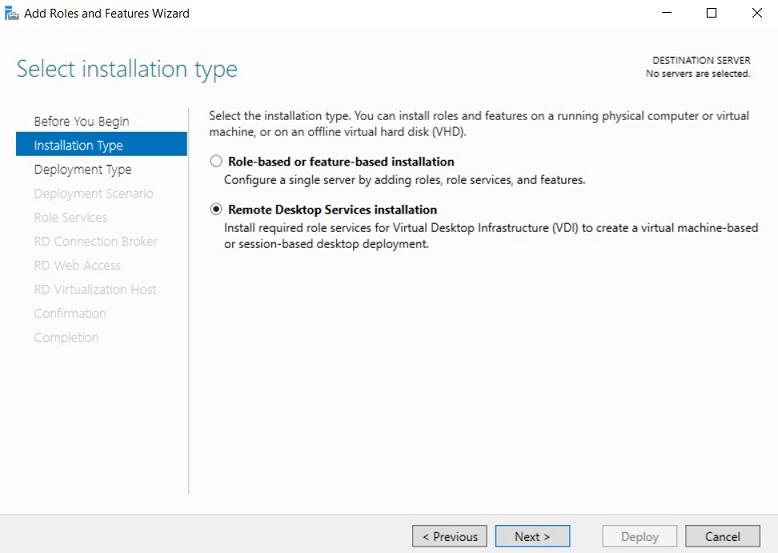Selecting installation type in Hyper-V VDI deployment