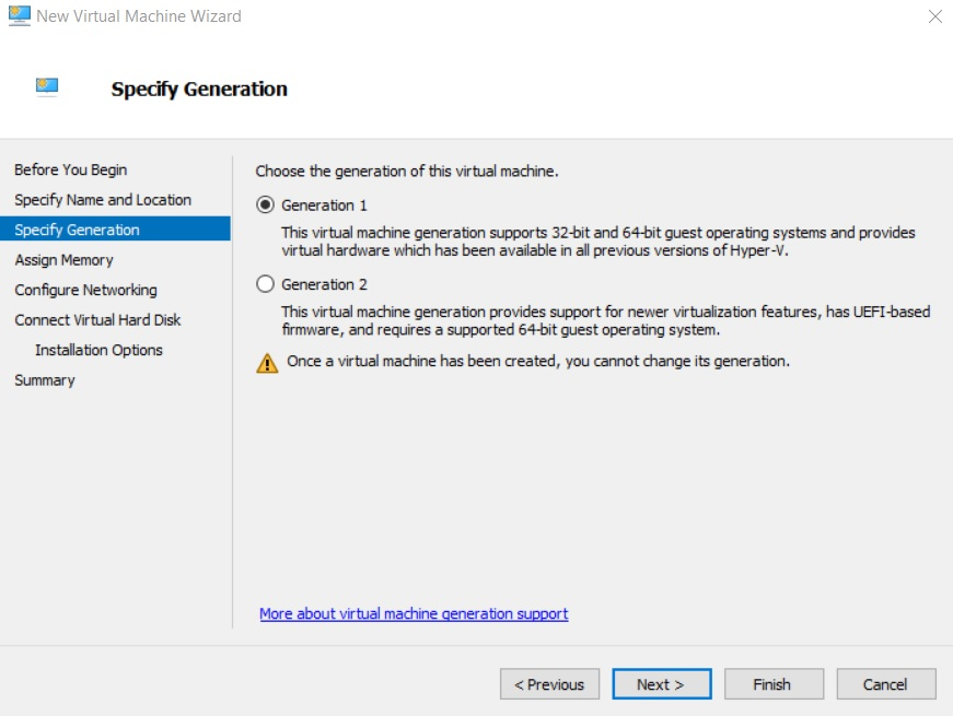 Specify Generation (Hyper-V Differencing Disks)