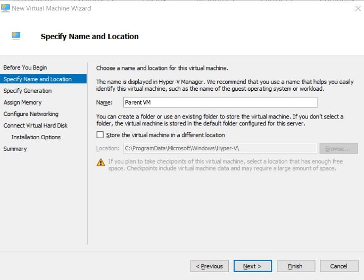 Specify Name and Location (Hyper-V Differencing Disks)