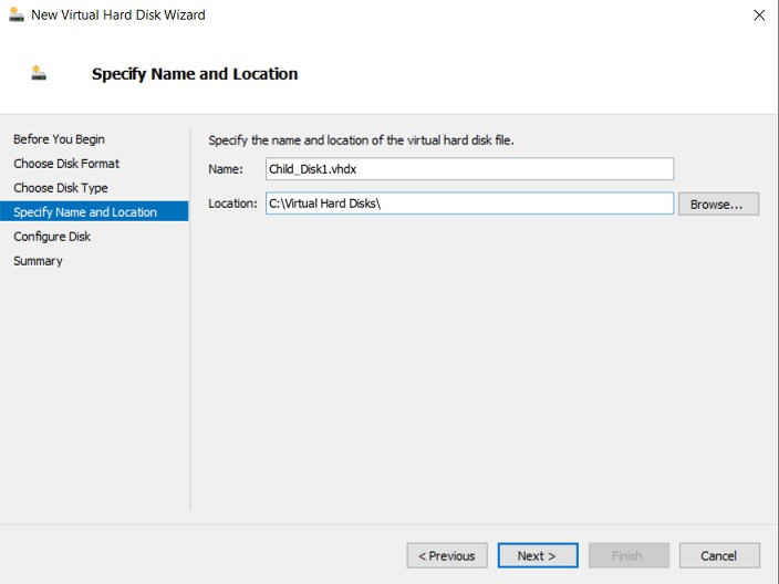 Specifying Name and Location (Hyper-V Differencing Disks)