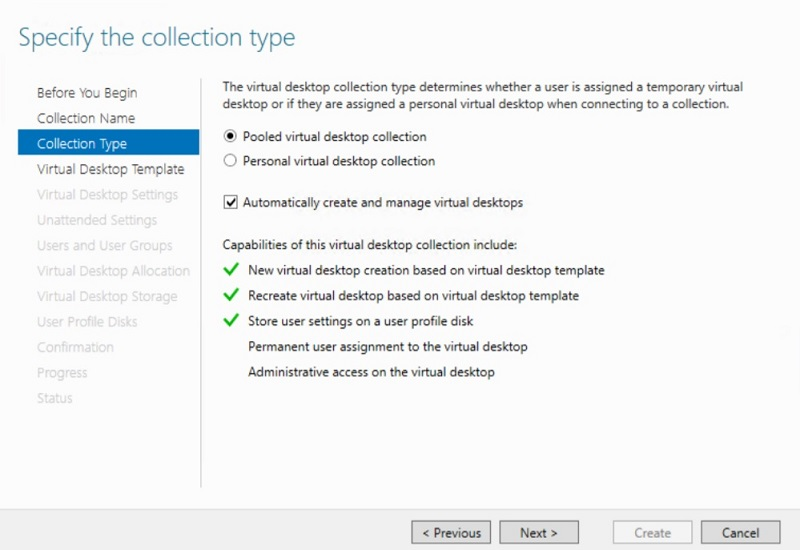 Specifying the collection type in Hyper-V VDI deployment