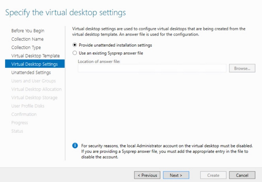 Specifying the virtual desktop settings in Hyper-V VDI deployment