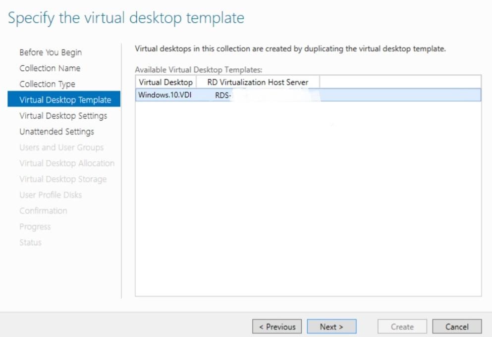 Specifying the virtual desktop template in Hyper-V VDI deployment