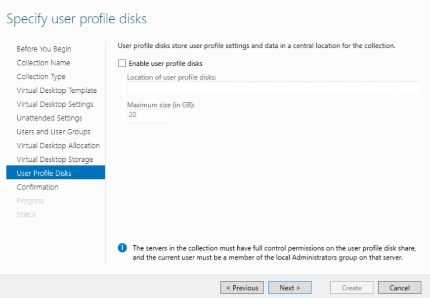 Specifying user profile disks in Hyper-V VDI deployment