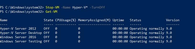 Stop Hyper-V VMs (Hyper-V PowerShell Commands)