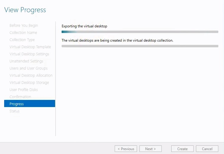 Viewing progress in Hyper-V VDI deployment