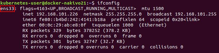 Checking network configuration on the node before installing Kubernetes on Ubuntu.