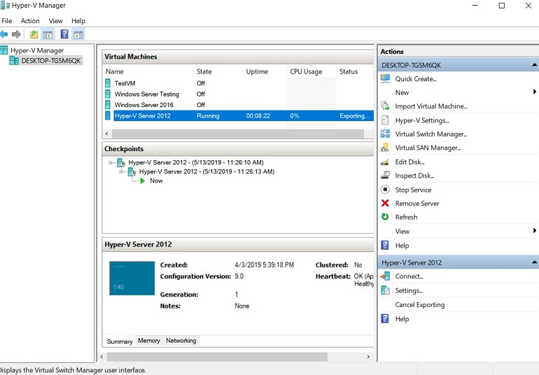 Checking the Status (How to Export Hyper-V VMs)