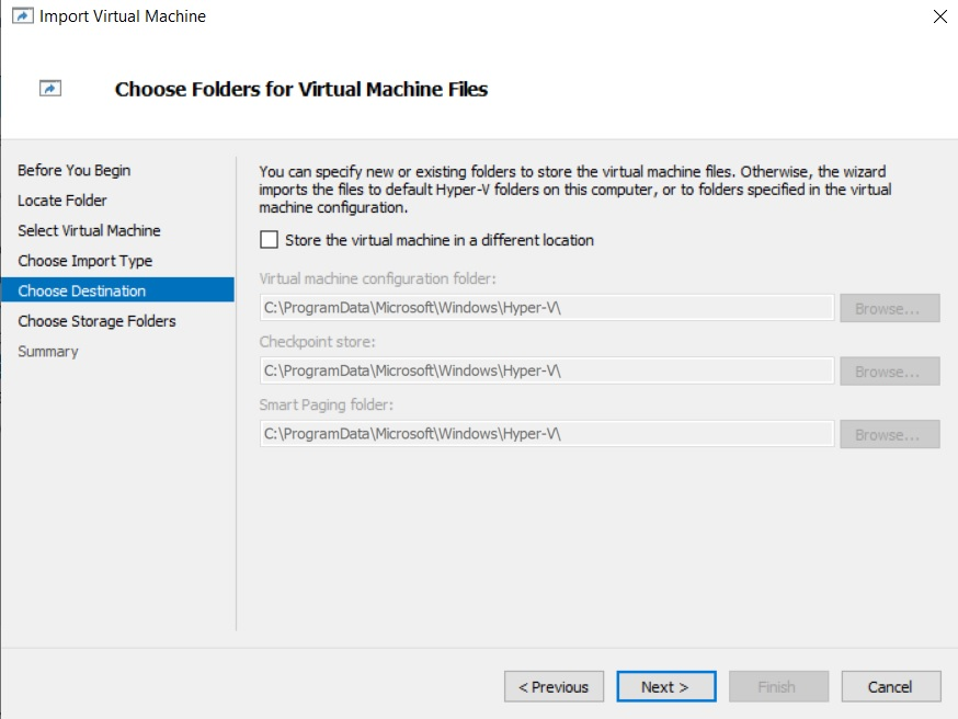Choose Folders for VM Files (How to Import Hyper-V VMs)