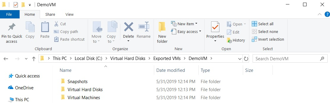 Exported DemoVM (How to Export Hyper-V VMs)