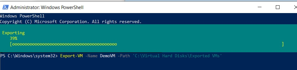 Exporting Hyper-V VMs in PowerShell