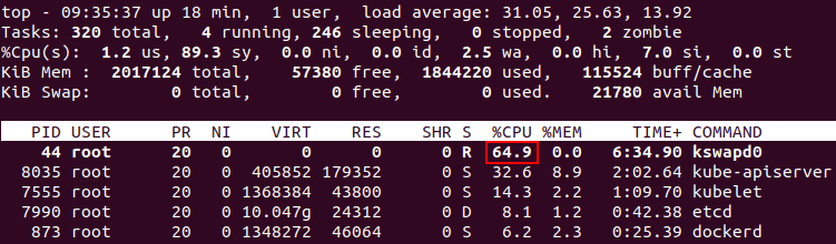 For preventing CPU overloading by kswapd0 process disable the swap partition before installing Kubernetes on Ubuntu.