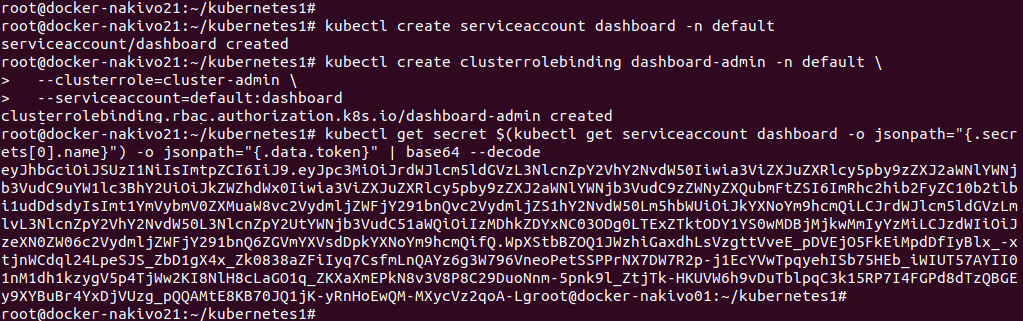 Generating a token needed to log in Kubernetes dashboard