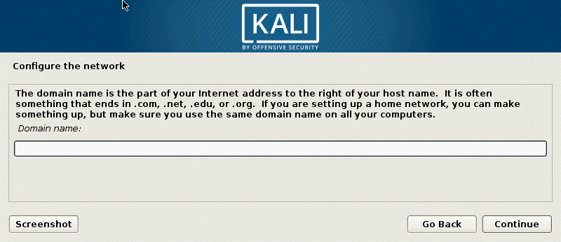 How to install Kali Linux on VirtualBox – configuring the domain name