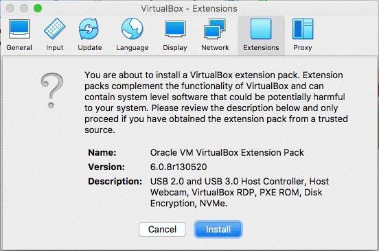 How to install VirtualBox Extension Pack on macOS – installation confirmation
