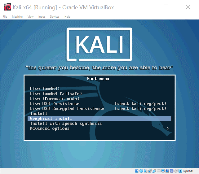 Installing Kali Linux on VirtualBox – select Graphical install